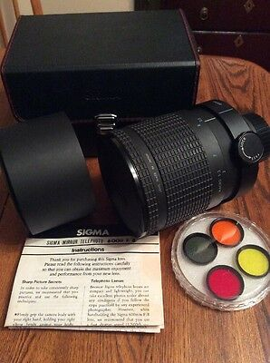 Sigma 1:8 600mm Mirror Telephoto Lens, Hood, Filters, Box, Nice Clean Condition