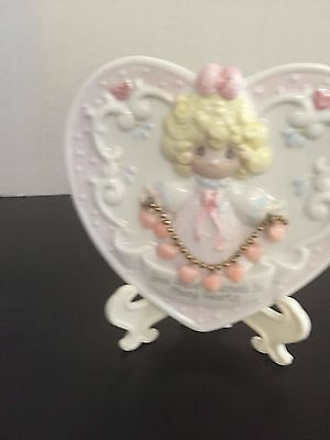 Precious Moments Small 3-D Heart Plate 1995 YOU HAVE TOUCHED SO MANY HEARTS