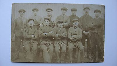 Old Vintage Postcard Group of Men in Flat Caps. Miners. Railway. Transport. ????