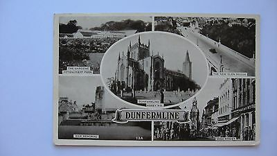 Old Vintage Postcard multi-view DUNFERMLINE real photograph
