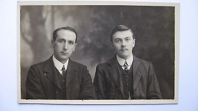 Old Vintage Postcard 2 Men in early 1900's attire Charles & Russell Belfast