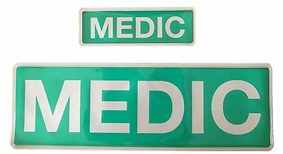 MEDIC Reflective Badge SET No Hook & Loop St John Ambulance Medic Paramedic EMT