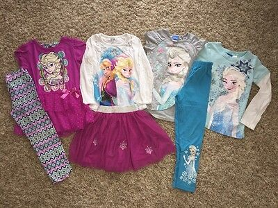 Girls ~ 6 ~ Disney Frozen Lot ~ 3 Outfits ~ 4 Tops ~ 1 Skirt ~ 2 Leggings ~ Elsa