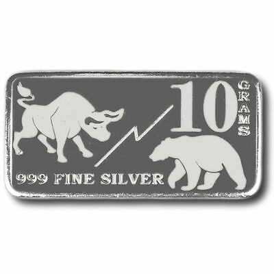 "One New Monarch Mint ""Bull & Bear"" 10 Gram .999 Fine Silver bar       ++ add ons"