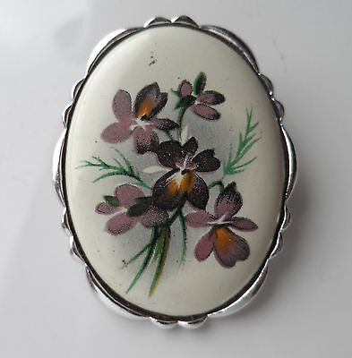 Vintage 70s Purple Flowers Silver Tone China Middle Oval Brooch