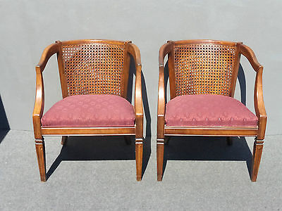 Pair Vintage Burgundy Cane Back Accent Arm CHAIRS French Country Cottage