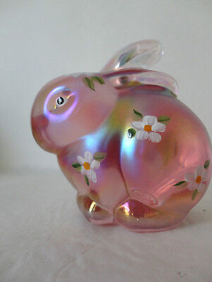 Fenton  3.5'' Pink Iridized Bunny with Hand Painted  Flowers  Gorgeous