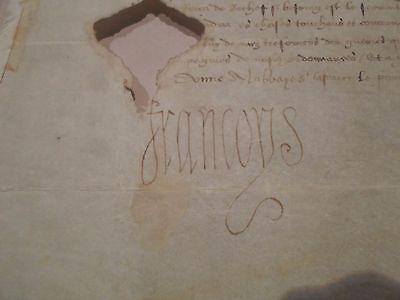 Vellum Document Signed By The King Of France 1524 (Rare)