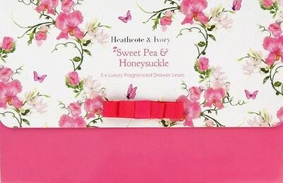 Heathcote & Ivory Sweet Pea and Honeysuckle Fragranced Drawer Liners, Set of 5