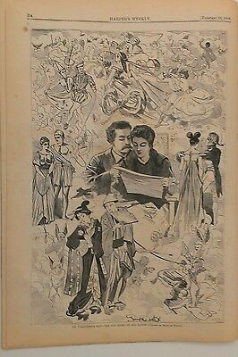 Harper's Weekly 2/22/1868  Winslow Homer Print  Valentines Day!   complete