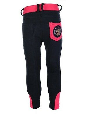 HKM Girls Champ Navy/Pink Breeches size 6