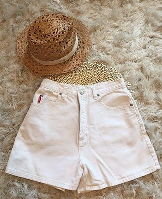 VTG Bongo Jeans Women's High Waist White Cotton Shorts Made In USA Sz 7