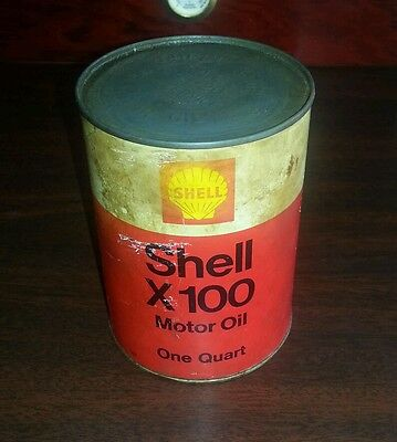 Vintage 1 Quart Shell X-100 Motor Oil Can Very Nice! Exc. Full!