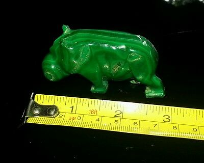 """Hippopotamus, Hand carved Marble. Rich Green colored Stone """"HIPPO"""""""