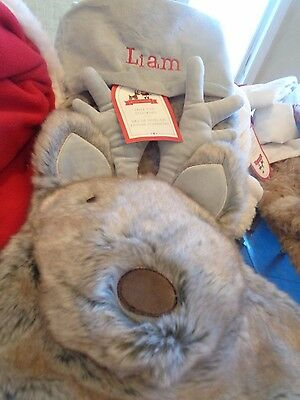 "Pottery Barn gray faux fur reindeer Christmas stocking monogrammed ""Liam"" New"
