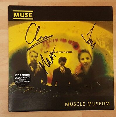 """Muse 'muscle Museum' Rare 7"""" Clear Signed Vinyl Single"""