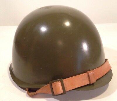 Vintage US Army WWII?? Steel Helmet Size 62 Leather Lined Military Militaria Exc