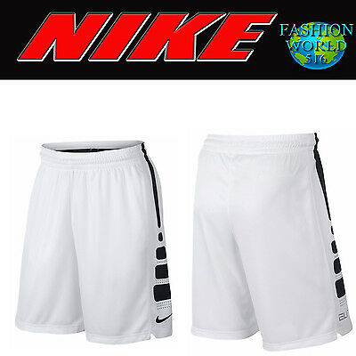 "Nike Boy's Size XL Elite Striped 10"" Basketball Shorts 546649-101 White/Black"