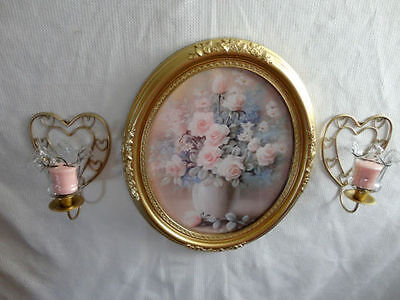 Home Interiors Oval''  Pink Roses '' Picture & Heart Sconces 7pc Gorgeous