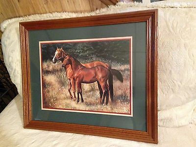 Retired Home Interior Thoroughbred Solid Oak Horse Picture