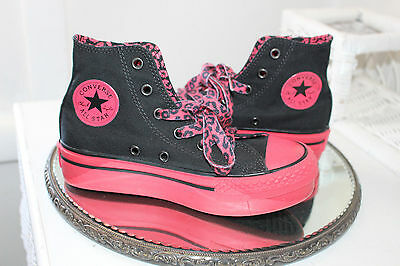 CONVERSE All Star Chuck Taylor Sneakers HI TOP Girls Size 13 Black & Hot Pink