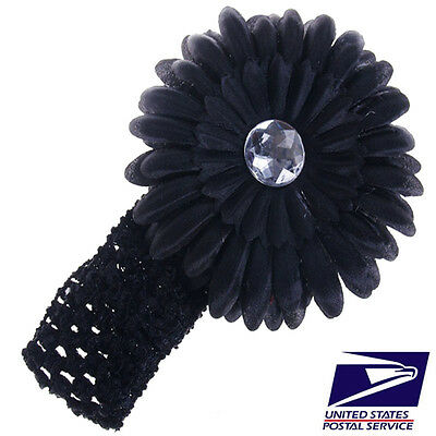 US Stock Cute Black Baby Boy Girl Kid Crochet Headband Hair Band Flower