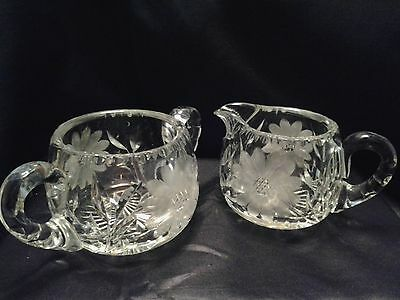 Vintage Cut and Etched Crystal Sugar and Creamer Circa 1940