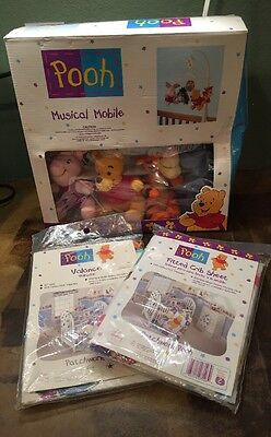 Winnie the Pooh Musical Baby Crib Mobile Nursery Valance Crib Sheets NIP
