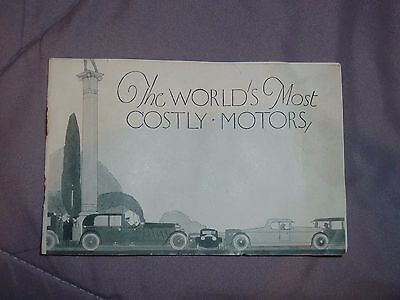Rare 1924 Travelers Insurance Booklet The Worlds Most Costly Motors Automobile