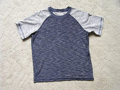 Boy's Youth Size 10-12 Navy Blue & Gray Short Sleeve T-Shirt