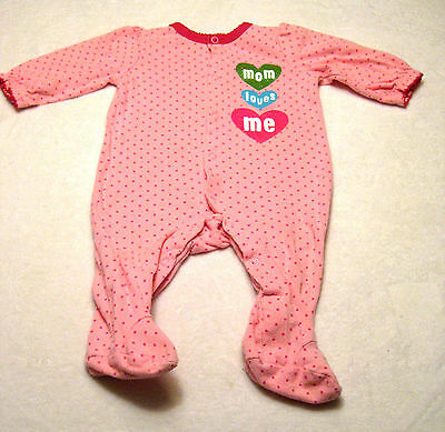 Circo Footed Mom Loves Me Pajamas 9 Months Pink L/S Pjs  Baby Girl