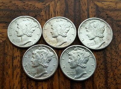 LOT of 5 - U.S. Mercury Dimes GEM BU  -  Good to Full Bands -  90% Silver Coins