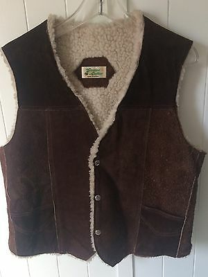 Vintage Genuine Leather Vest Sherpa Made in Mexico Women's Large Cowboy Western