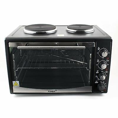 Mini Convection Oven Electric Grill Hob Rotisserie 2 Hot Plate Counter Top 30L