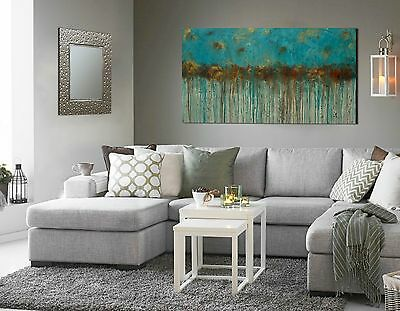 Turquoise and Brown Large Landscape Painting Textured Original Wall Art 60 x 30