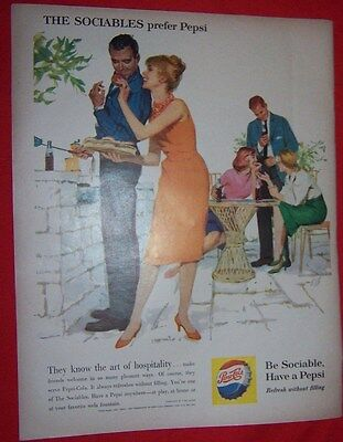 1960 Magazine Ad Pepsi Cola The Sociables attend a garden party