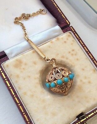 Persian Turquoise 19th C Etruscan Gold Cannetille Filigree Ball Fob Pendant