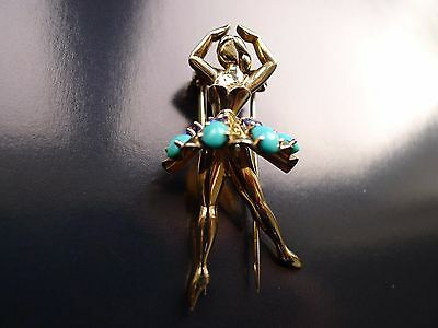 1940s 14ct White Gold Sapphire Turquoise Ballerina Pin Brooch