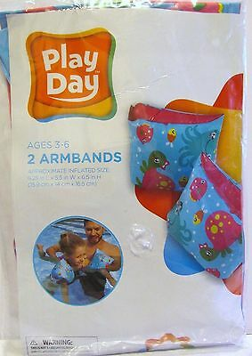 Girls Play Day Inflatable Swimming Armbands (Ages 3-6) BRAND NEW UNOPENED!
