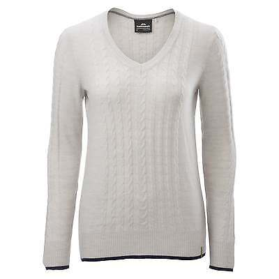 Kathmandu Highlands Womens Merino Wool Cable Knit Jumper Winter Pullover Cream