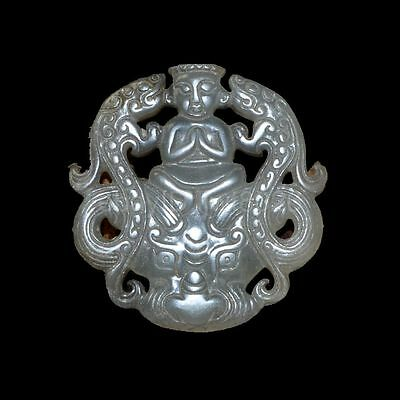 Old Chinese antique Jade hand-carved Beast Statue Pendants Amulet~dragon