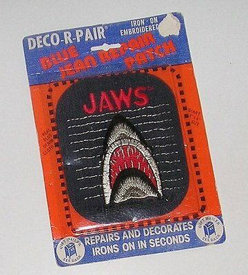 Iron On Embroidered Blue Jean Repair/decorator Patch - Jaws - New On Card