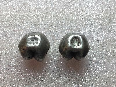 Lot of 2 Piece Thailand Silver Baht Bullet Money 1800's Nice Condition