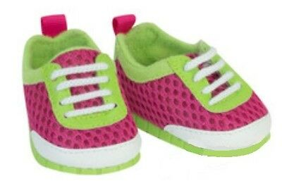 "Pink & Green Athletic Mesh Sneakers for 18"" American Girl Doll Shoes Watermelon!"