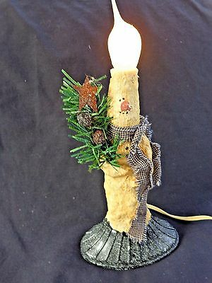 Vintage  Hand decorated Snowman Candle Light