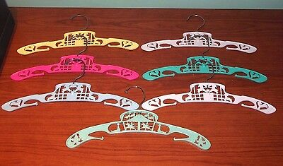 Lot of 7 Vintage Plastic & Metal Child Baby Clothes Hangers Lambs & Carousel