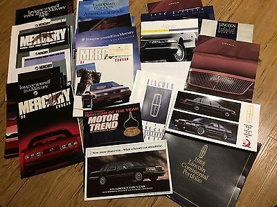 1988 to 1997 Lincoln/Mercury Dealer Brochures, Lot of 40,  Cougar, XR7, MarkVIII
