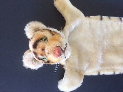 Steiff Puppet Tiger Bengal Cub Mohair glass eyes Adorable Vintage Toy