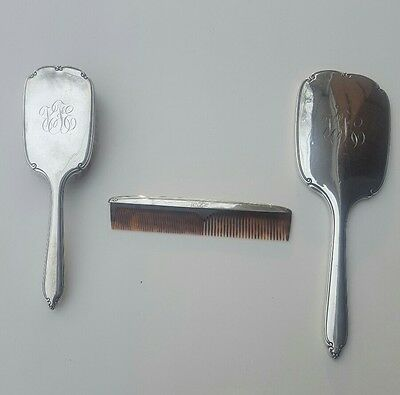 Antique International Sterling Silver Vanity Set - Brush, Comb & Hand Mirror