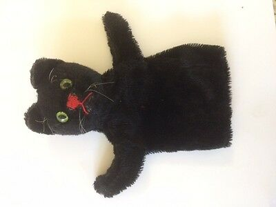 Steiff Puppet Black Cat Mohair glass eyes Adorable Vintage Toy